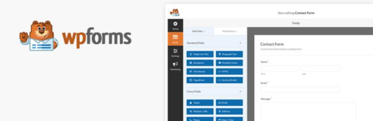 WPForm - ingyenes WordPress kapcsolati űrlap bővítmény