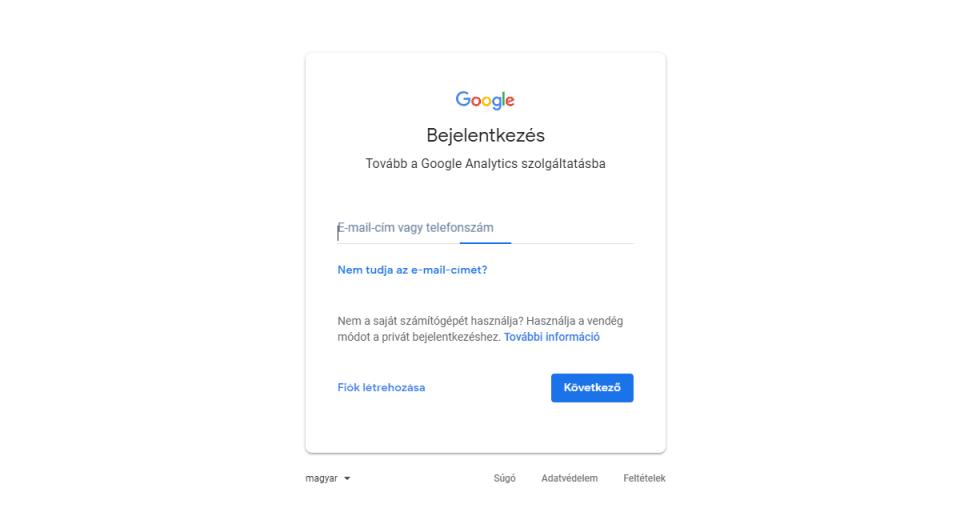 Google Analytics Bejelentkezési Oldal